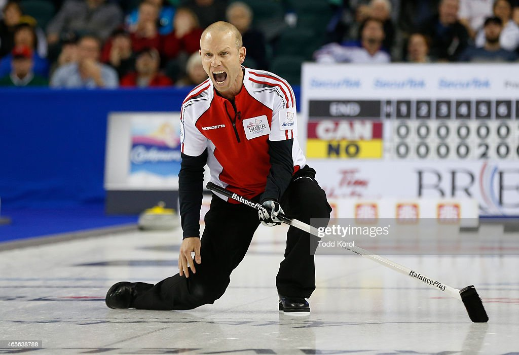Team Canada skip Pat Simmons reacts to his shot in his game against Northern Ontario in the gold medal in curling game during the Tim Horton's Brier at the Scotiabank Saddledome on March 8, 2015 in Calgary, Alberta, Canada.