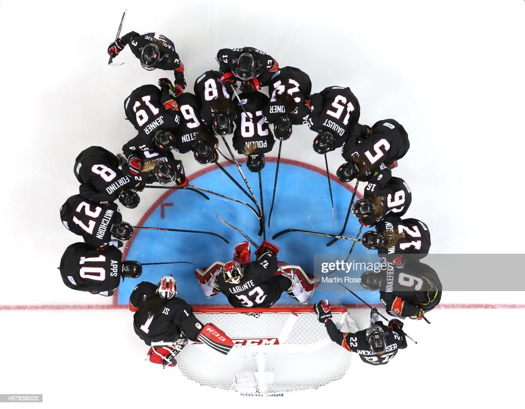 Team Canada talk before thre game prior to the Women's Ice Hockey Preliminary Round Group A Game against Switzerland on day 1 of the Sochi 2014 Winter Olympics at Shayba Arena on February 8, 2014 in Sochi, Russia.