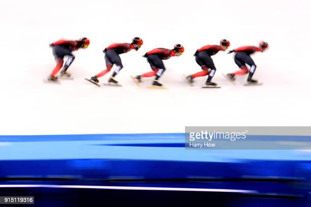 Team Canada trains during during Short Track Speed Skating practice during previews ahead of the PyeongChang 2018 Winter Olympic Games at Gangneung...