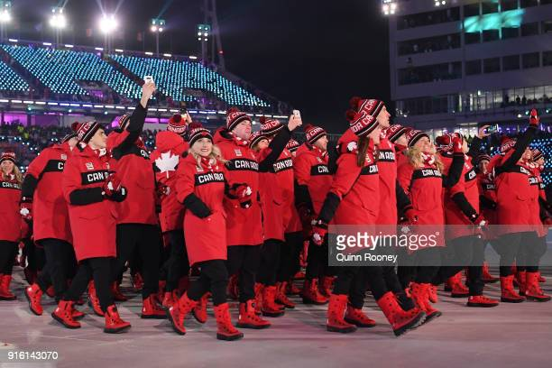 Team Canada walks during the Opening Ceremony of the PyeongChang 2018 Winter Olympic Games at PyeongChang Olympic Stadium on February 9 2018 in...