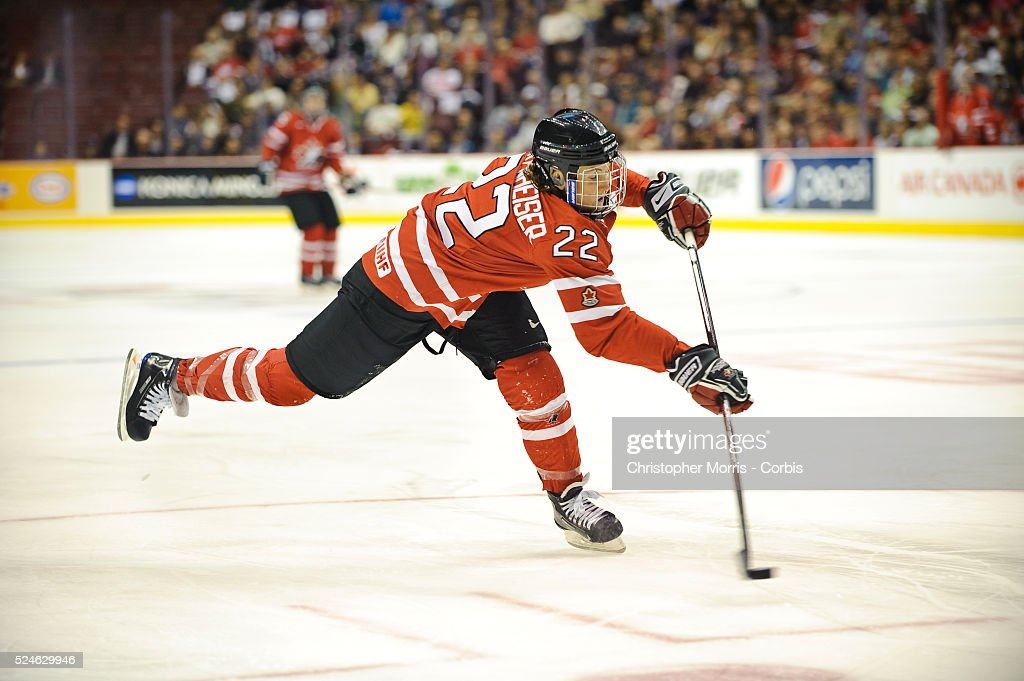 Team Canada's captain Haley Wickenheiser unloads a slapshot in 1st period action of the finals vs. Team USA during the Canada Cup Women's Hockey tournament in Vancouver at GM Place. Canada-USA finals. Team USA beat Canada 2-1.
