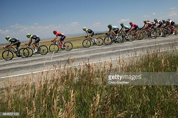 Team Cannondale-Garmin drives the peloton through the countryside during stage four of the USA Pro Challenge from Aspen to Breckenridge on August 20,...