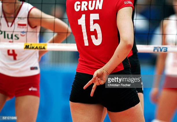Team captain Angelina Gruen of Germany signals during the Womens Volleyball World Championships Qualifiers between Germany and Poland on June 19 2005...
