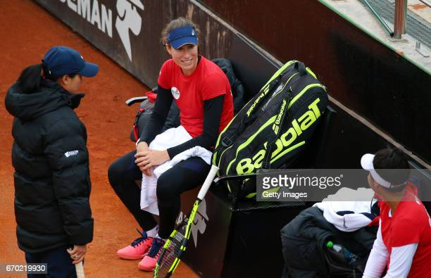 Team captain Anne Keothavong Johanna Konta and Heather Watson speak during a Great Britain Fed Cup training session at Tenis Club IDU on April 19...