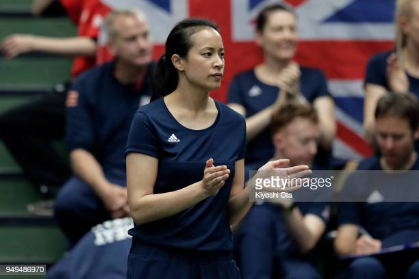 Team captain Anne Keothavong of Great Britain reacts as she watches the singles match between Naomi Osaka of Japan and Heather Watson of Great...