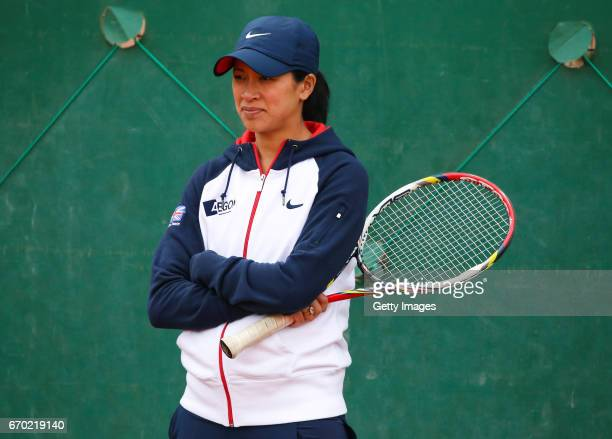 Team captain Anne Keothavong watches over her players during a Great Britain Fed Cup training session at Tenis Club IDU on April 19 2017 in Constanta...