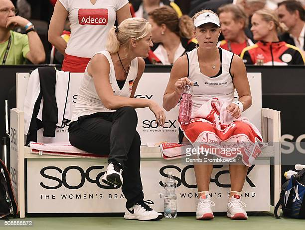 Team captain Barbara Rittner of Germany instructs Angelique Kerber on Day 2 of the 2016 FedCup World Group Round 1 match between Germany and...