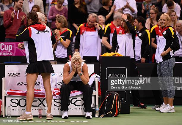 Team captain Barbara Rittner of Germany reacts after her team wins the Fed Cup 2015 World Group First Round tennis between Germany and Australia at...
