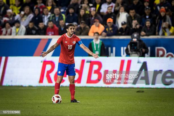 Team captain Bryan Ruiz of Costa Rica looks to his teammates during the International Friendly match between Columbia and Costa Rica at Red Bull...