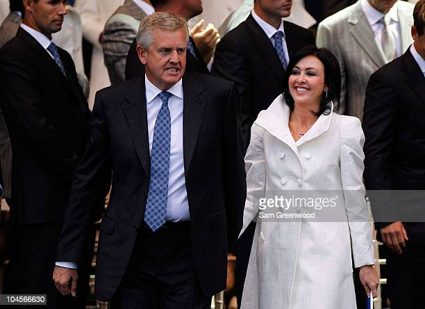 Team Captain Colin Montgomerie of Europe and Wife Gaynor stand together during the Opening Ceremony prior to the 2010 Ryder Cup at the Celtic Manor...