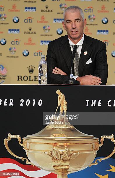 Team Captain Corey Pavin answers questions from the media at a press conference following the Opening Ceremony prior to the 2010 Ryder Cup at the...