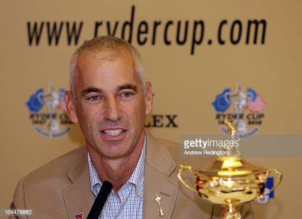 USA team captain Corey Pavin talks to the media after the USA team arrives at Cardiff Airport prior to the start of the 2010 Ryder Cup on September...
