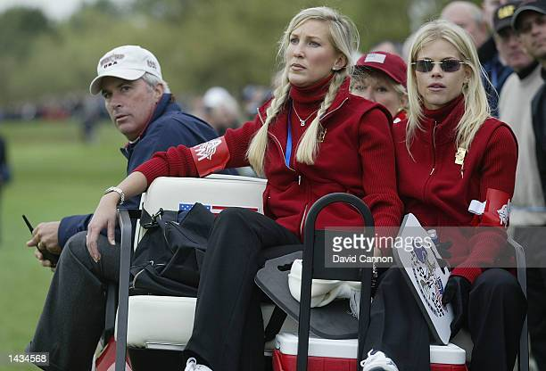USA team captain Curtis Strange with Mark Calcavecchia's girlfriend Brenda Nardecchia and Tiger Wood's girlfriend Elin Nordegren during the afternoon...
