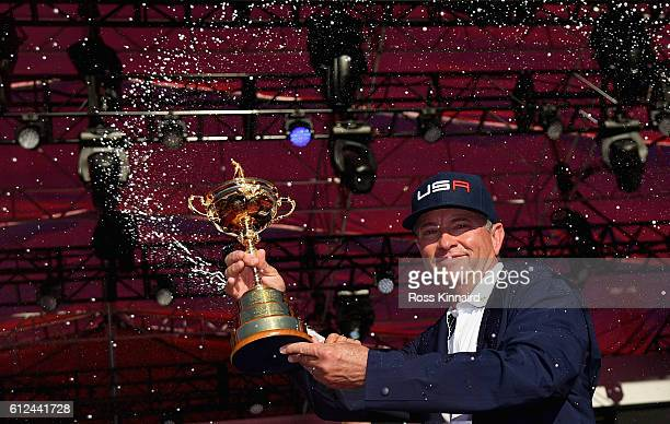 Team captain Davis Love III of the United States celebrates during the closing ceremony of the 2016 Ryder Cup at Hazeltine National Golf Club on...