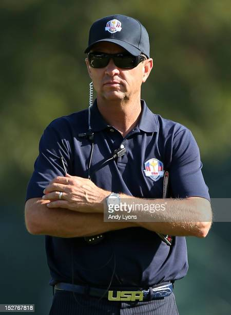 Team captain Davis Love III watches the play during a practice round during the second preview day of The 39th Ryder Cup at Medinah Country Golf Club...