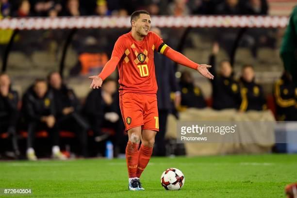 Team captain Eden Hazard midfielder of Belgium gestures during a FIFA international friendly match between Belgium and Mexico at the King Baudouin...