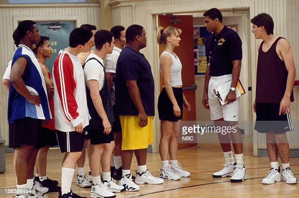 "Team Captain"" Episode 1 -- Aired 9/6/97 --Pictured: Adam Frost as Michael Manning, Reggie Theus as Coach Bill Fuller, Daniella Deutscher as Julie..."