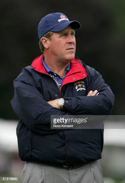 Team captain Hal Sutton watches the afternoon foursome matches at the 35th Ryder Cup Matches at the Oakland Hills Country Club September, 17 2004 in...