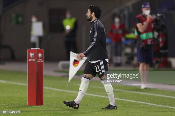 Team captain Ilkay Guendogan of Germany walks onto the pitch for the FIFA World Cup 2022 Qatar qualifying match between Germany and North Macedonia...