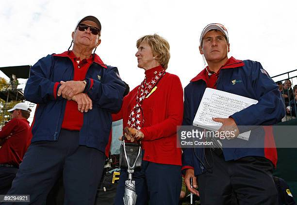 S team captain Jack Nicklaus watches his players on the 16th hole along with his wife Barbara and assistant Scott Tolley during the fifth round of...
