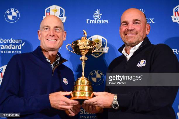 USA team captain Jim Furyk and Europe team captain Thomas Bjorn during the Press conference for the Ryder Cup 2018 at the Hotel Pullman Tour Eiffel...