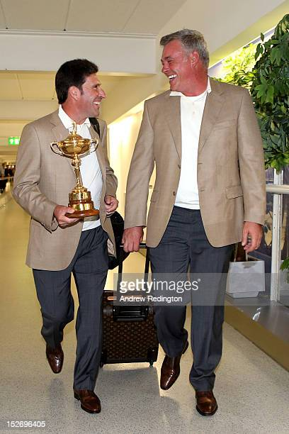 Team Captain Jose Maria Olazabal and the Ryder Cup trophy are accompanied by Team Vice Captain Darren Clarke as the Europe team depart for the Ryder...
