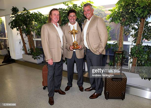 Team Captain Jose Maria Olazabal and the Ryder Cup trophy are accompanied by Team Vice Captains Miguel Angel Jimenez and Darren Clarke as the Europe...