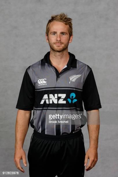 Team Captain Kane Williamson poses during the New Zealand International Twenty20 headshots session at Sydney Cricket Ground on February 1 2018 in...