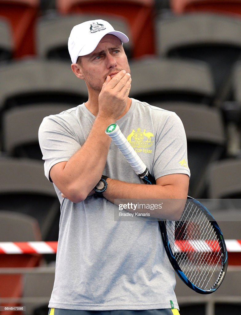 Team Captain Lleyton Hewitt of Australia ponders as he watches on during practice ahead of the Davis Cup World Group Quarterfinal match between Australia and the USA at Pat Rafter Arena on April 5, 2017 in Brisbane, Australia.