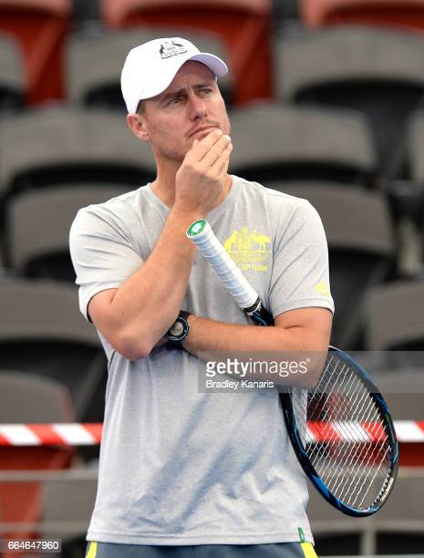 Team Captain Lleyton Hewitt of Australia ponders as he watches on during practice ahead of the Davis Cup World Group Quarterfinal match between...