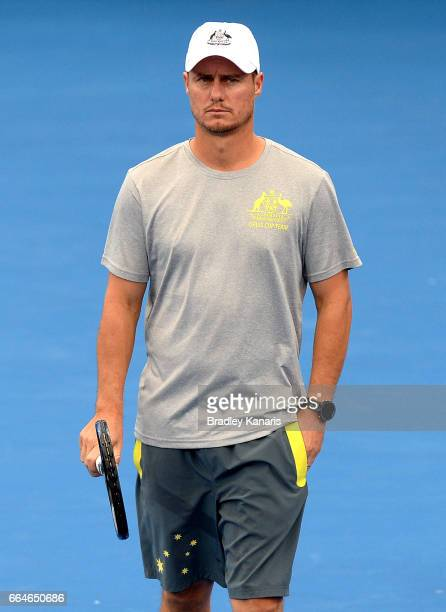 Team Captain Lleyton Hewitt of Australia watches on during practice ahead of the Davis Cup World Group Quarterfinal match between Australia and the...