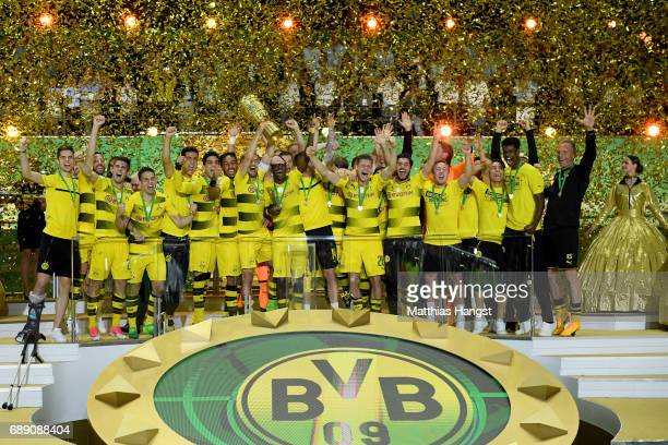 Team captain Marcel Schmelzer of Dortmund lifts the trophy after winning the DFB Cup Final 2017 between Eintracht Frankfurt and Borussia Dortmund at...