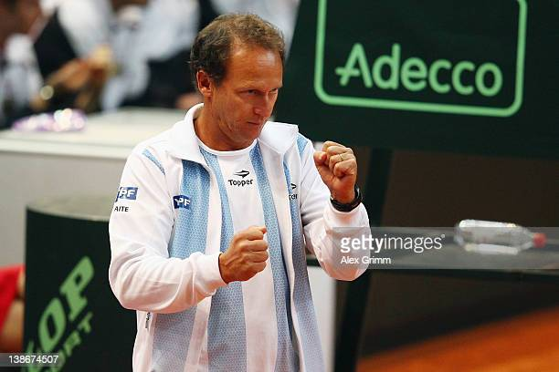Team captain Martin Jaite of Argentina reacts during the match between David Nalbandian and Florian Mayer of Germany on day 1 of the Davis Cup World...