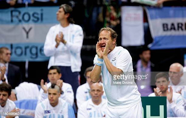 Team captain Martin Jaite of Argentina shouts during day one of the Davis Cup semifinal match between Czech Republic and Argentina at O2 Arena on...