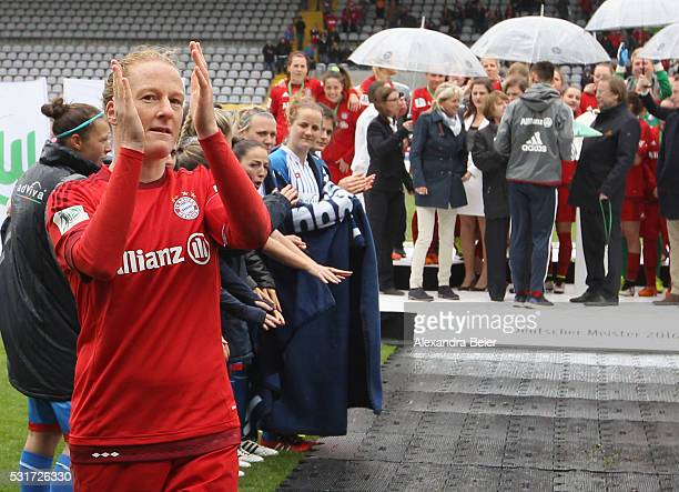 Team captain Melanie Behringer of Bayern Muenchen waves to the fans after her team won the German Championship title after the women Bundesliga match...