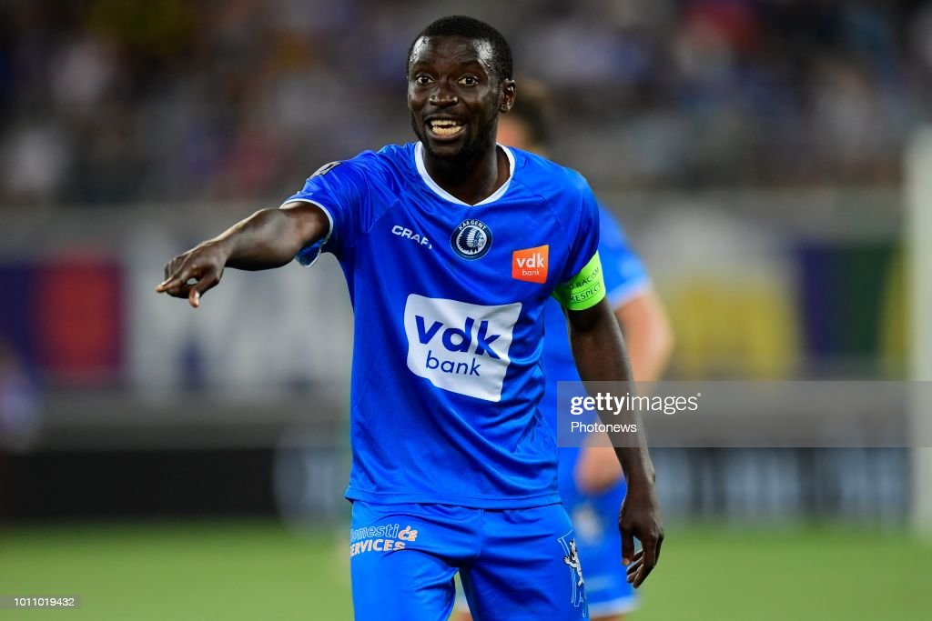 Team captain Nana Asare Akwasi defender of KAA Gent points out ...