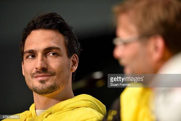 Team captain of Borussia Dortmund Mats Hummels talks to the media at Olympiastadion on May 29, 2015 in Berlin, Germany.