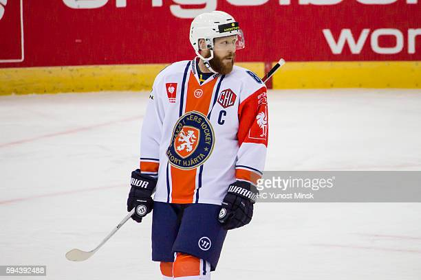 Team captain of Vaxjo Lakers Liam Reddox during the 3rd period of the Champions Hockey League group stage game between YunostMinsk and Vaxjo Lakers...