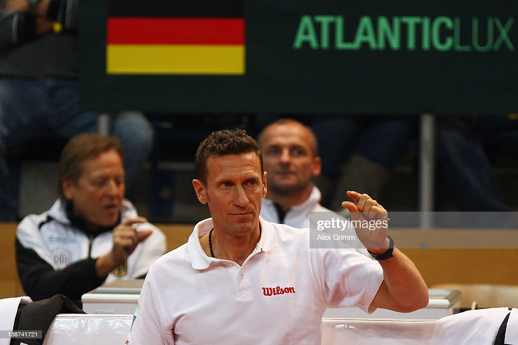 Team captain Patrick Kuehnen of Germany reacts during the doubles match between Tommy Haas and Philipp Petzschner of Germany and David Nalbandian and Eduardo Schwank of Argentina on day 2 of the Davis Cup World Group first round match between Germany and Argentina at Stechert Arena on February 11, 2012 in Bamberg, Germany.