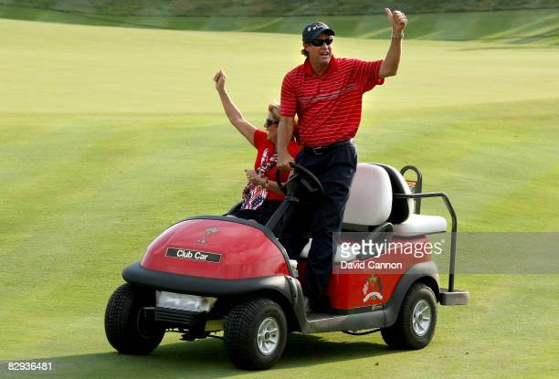 USA team captain Paul Azinger celebrates alongside his wife Toni after the USA won the Ryder Cup during the final day of the 2008 Ryder Cup at...