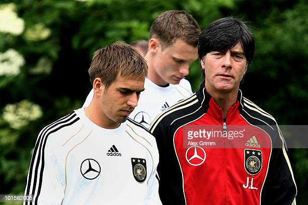 Team captain Philipp Lahm and head coach Joachim Loew arrive for the official team photo of the German FIFA 2010 World Cup squad at the 'Kleine...