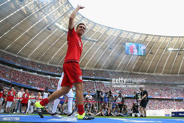 Team Captain Philipp Lahm arrives for the FC Bayern Muenchen season opening and team presentation at Allianz Arena on July 11 2015 in Munich Germany
