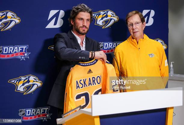Team captain Roman Josi announces goalie Yaroslav Askarov as the 11th pick overall with GM David Poile during Round One of the 2020 NHL Draft on...