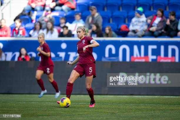 Team Captain Stephanie Houghton of England clears the ball during the 1st half of the 2020 She Believes Cup sponsored by Visa match between Japan and...