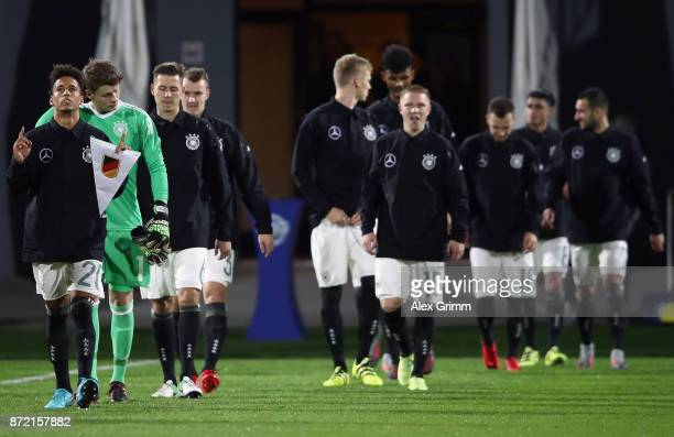 Team captain Thilo Kehrer and team mates enter the pitch for the UEFA Under21 Euro 2019 Qualifier match between Azerbaijan U21 and Germany U21 at...