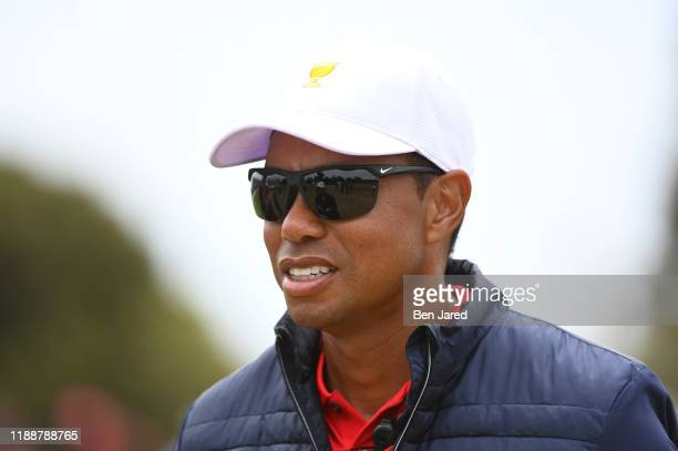Team Captain Tiger Woods during the final round singles matches at the Presidents Cup at The Royal Melbourne Golf Club on December 15 in Victoria ,...