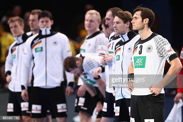Team captain Uwe Gensheimer and team mates of Germany react after the 25th IHF Men's World Championship 2017 Round of 16 match between Germany and...