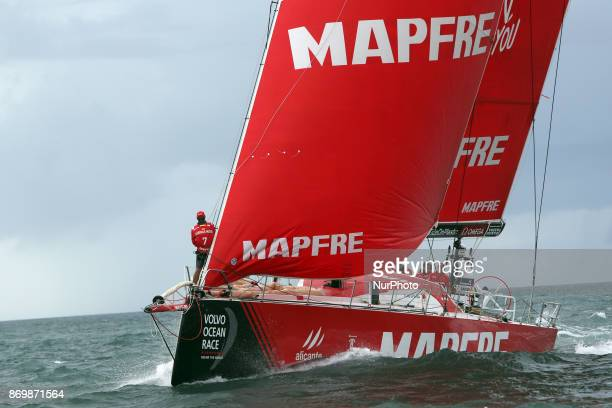 MAPFRE team captained by Spanish Xabi Fernandez in action during the Volvo Ocean Race 20172018 Inport Race at the Tagus River in Lisbon Portugal on...