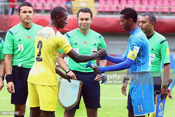 Team captains Abdoul Dante of Mali and Dylan Andrade of Honduras shake hands prior to the FIFA U17 World Cup Chile 2015 Group D match between Mali...