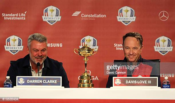 Team Captains Darren Clarke of Team Europe and Davis Love III of Team USA speak at a press conference prior to the 2016 Ryder Cup at Hazeltine...
